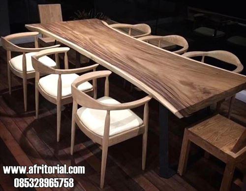 Meja Cafe Trembesi Model Kayu Utuh Alami 8 Kursi