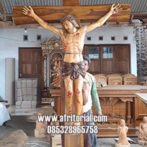 Patung Yesus Kristus Disalib Ukir Kayu Jati Jepara