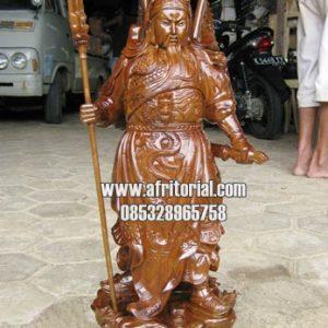 Seni Ukir Patung Jepara Dewa Kwan Kong Atribut Lengkap