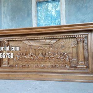 Meja Altar Gereja Ukiran Relief Perjamuan