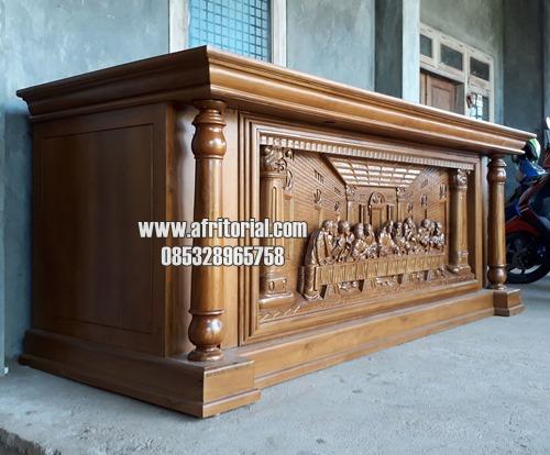 Meja Altar Gereja Ukiran Relief Perjamuan Kayu Jati Jepara