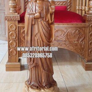 Ukiran Parung Bunda Maria Memberkati Kayu Jati Jepara