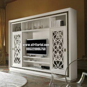 Bufet Tv Mewah Kombinasi Minimalis Ukir Jepara Tema Moderen Putih