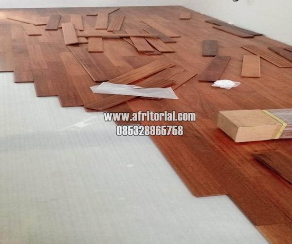 Flooring Lantai Kayu Jati Asli Parquet Wood Floor Solid Untuk Indoor