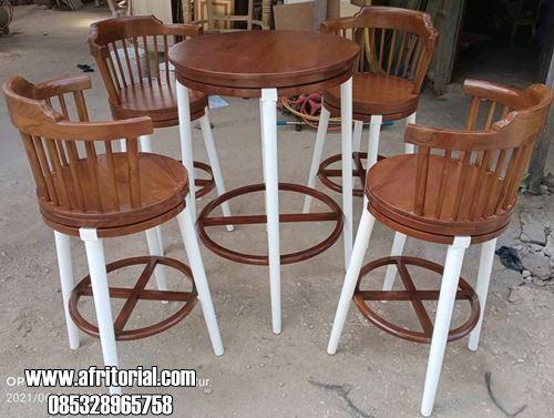 Meja Kursi Putar Kayu Jati Untuk Cafe Atau Resto