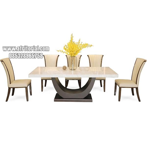 Meja Makan Marmer Persegi Panjang Minimalis Putih Mewah