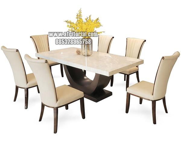 Meja Makan Marmer Putih Persegi Panjang Minimalis Mewah