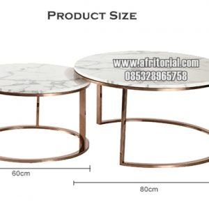 Meja Marmer Tumpuk Bulat Kaki Stainless Emas Untuk Ruang Tamu