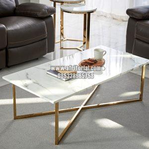 Model Furniture Ruang Tamu Minimalis Meja Marmer Bingkai Stainless Steel